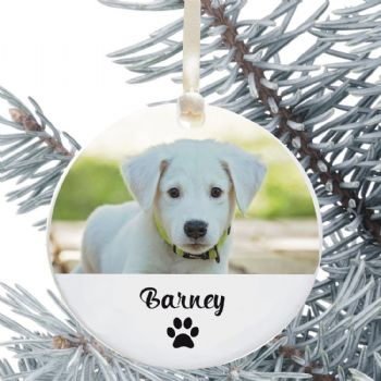 Personalised Dog Photo Ceramic Keepsake Christmas Tree Decoration - Ideal for any Pet Lover